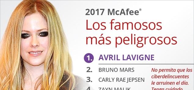 Avril Lavigne es la celebridad más peligrosa online