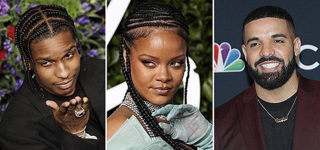 Rihanna está soltera y se ''consuela'' con sus ex Drake y Asap Rocky